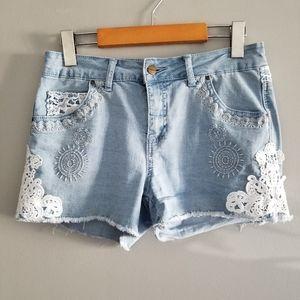 Tatienne crochet lace detail jean shorts